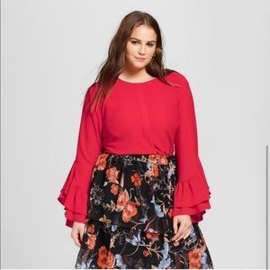 Red chiffon blouse who what wear